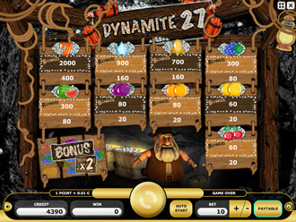 Dynamite 27 Paytable