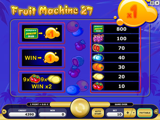 Fruit Machine 27 Paytable