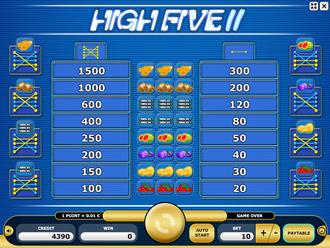 High Five II Paytable