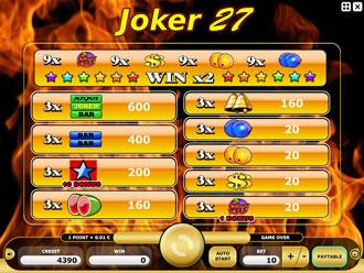 Joker 27 Paytable